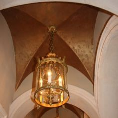 Lustre stone finish on groin vault ceiling by Sue Solitaire of artofsolitaire.com