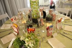 The movie themed table settings at the reception.