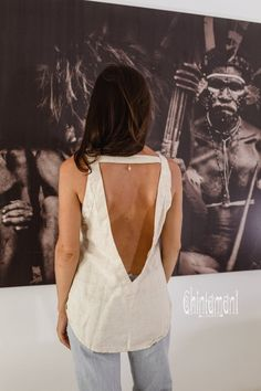 Tribal Womens Sleeveless Tank with Fringe Neckline