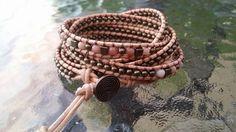Avvolto in pelle perline Bracciale bronzo colorato e rhodonite perline - Bracciale Wrap - Bracciale in pelle - pietre preziose
