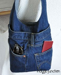 Use the back pocket from an old pair of denim jeans to add a pop of fun (and function!) to your sewing project, like we did with this Indygo Junction Chic Bucket Bag