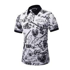 Men's Polo Shirt Fashion Printed Polo T-shirt Plus Size Men's Clothing