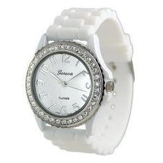 Geneva Platinum CZ Accented Silicon Link Watch
