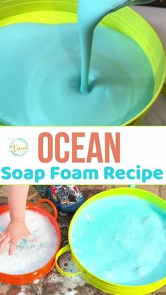 Ocean Soap Foam Sensory Bin This soap foam recipe mixes soap and water with cornstarch to create foam that has a great texture. Color it blue and add sea animals for an ocean theme! Ocean Activities, Toddler Learning Activities, Infant Activities, Sensory Activities For Preschoolers, Summer Activities For Toddlers, School Age Activities, Science Experiments For Toddlers, Outdoor Toddler Activities, Baby Room Activities