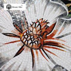Floral mosaic Bisazza hand made backsplash wall entrance glass tile deco white black bath living room mosaic art parquet tile (2)