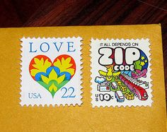 kind of love these .. Psychedelic Art .. Unused Vintage Postage Stamps .. mail 20 Postcards. $14.50, via Etsy.