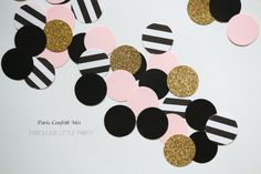 Paris Confetti Table Decorations Bridal Shower/Baby Shower/1st Birthday Decor/Kate Spade Gold Glitter/Black/Blush Pink/Black&White Stripe