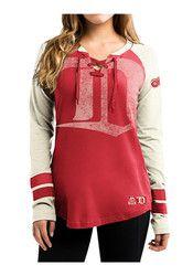 Detroit Womens Red Vintage Hip Check T-Shirt