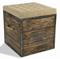 Wood Crate ottoman with storage for blankets/pillows - in front of couch nook?