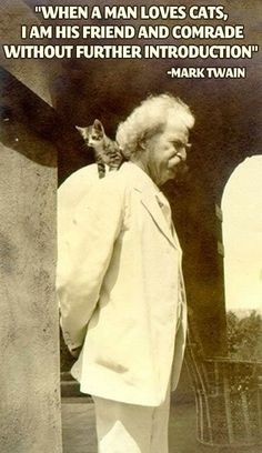 """""""When a man loves cats, I am his friend and comrade without further introduction"""" - Mark Twain. Who knew mark twain liked cats? Well now ya know! Animal Gato, Amor Animal, I Love Cats, Cute Cats, Funny Cats, Adorable Kittens, Crazy Cat Lady, Crazy Cats, Gatos Cats"""