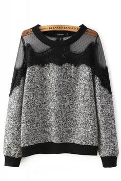 Mesh Splicing Round Neck Long Sleeve Pullover Sweatshirt