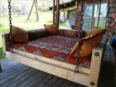 Best And Relaxing Outdoor Hanging Beds Home Ideas. If you are looking for And Relaxing Outdoor Hanging Beds Home Ideas, You come to the right place. Outdoor Porch Bed, Outdoor Decor, Outdoor Bedroom, Diy Porch, Outdoor Daybed, Rustic Outdoor, Outdoor Furniture, Rustic Porch Swings, Porch Bed Swings