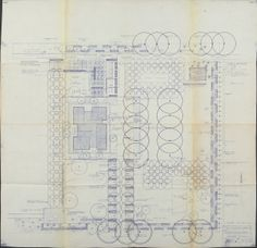 Revised blueline (29 5/8 x 30 3/8 in.) of Miller House Landscape Master Planting plan by the Office of Dan Kiley, 26 November 1957,  FF56, Miller House and Garden Collection, IMA Archives, Indianapolis Museum of Art, Indianapolis, Indiana #landarch