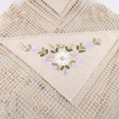 Small Vintage Woven Tablecloth with Floral Ribbon Decoration - Tea Cloth - Tea Party - Housewarming Gift - Afternoon Tea - Christmas Gift