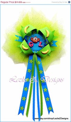 Baby Boy Monkey Bananas Theme Shower Corsage Pin by LezlieZDesigns