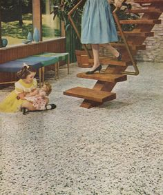 1959 Congoleum ad. I adore that staircase.