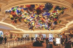 romantic hotel decor in the lobby of the best Bellagio hotel with colorful flowers at top hotels in Las Vegas