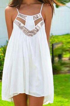 dress white fashion style summer sequin dress