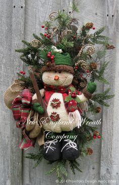 Christmas Wreath, Holiday Wreath, Christmas Swag, Skiing, Woodland, Designer Teardrop, Snowman Wreath, Whimsical Christmas