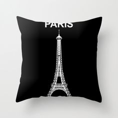 """Best Design Paris Tower - Black Pillow Case for Home Decor 18"""" x 18"""" inches by RaffPeez on Etsy"""