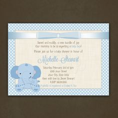 Hey, I found this really awesome Etsy listing at http://www.etsy.com/listing/121478854/elephant-boy-baby-shower-invitations