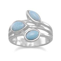 Sterling Silver Three Stone Larimar Ring #larimar #threestonering #sterlingsilverrings #stackable #rings #gemstonering #jewelry #ring #larimarring