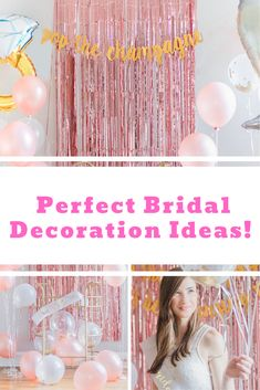 Bridal / Engagement party decoration ideas. Gold and Pink.