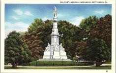 Vintage postcard of Soldiers National Monument in Gettysburg, PA.
