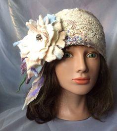 Ooak designer nunofelt headband. Merino wool , silk . Cream ,periwinkle ,blue,taupe ,beige ,white