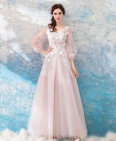 Pink v neck tulle lace long prom dress, pink evening dress Grey Evening Dresses, Evening Dresses With Sleeves, Pink Party Dresses, Pink Bridesmaid Dresses, Bride Dresses, Prom Dresses Online, Cheap Prom Dresses, Prom Dress Shopping, Beautiful Dresses