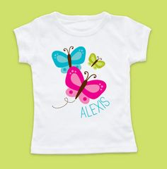 Flutter By Girl Tshirt Tshirts, Butterfly Tshirt from Petite Lemon