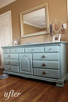 dresser make over light blue with mirror above!