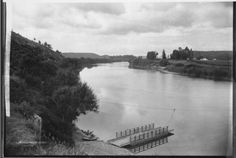 Whanganui river from the settlement of Upokongaro, with the ferry, or punt, in the foreground - Photograph taken by Frank James Denton James Denton, Frank James, New Zealand, Photograph, River, History, Photography, Photographs, Rivers