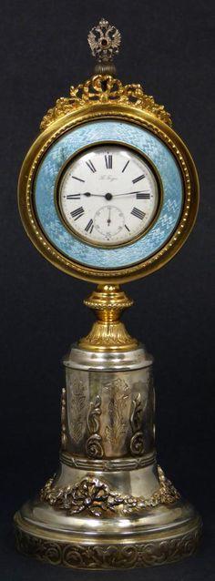 Pavel Buhre Russian silver guilloché clock