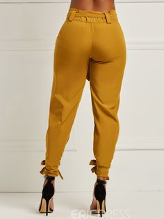 Model: Slim Length: Full Length Trousers Shape: Pencil Pants Elasticity: Stretchy Pattern: Plain Embellishment: Bowknot Style: Casual * Size Waist Hips Pant Length cm inch cm inch cm inch S / / 98 M / / 99 L / / 100 XL / / 101 9 Fashion Mode, Fashion Pants, Fashion Dresses, Womens Fashion, Fashion Trends, Dope Fashion, Fashion Sandals, Fall Outfits, Cute Outfits