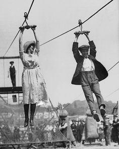 Early ziplining.