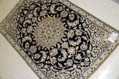 イラン輸入玄関マット手織りペルシャ絨毯ナイン紺55079、本物のペルシャ高級絨毯