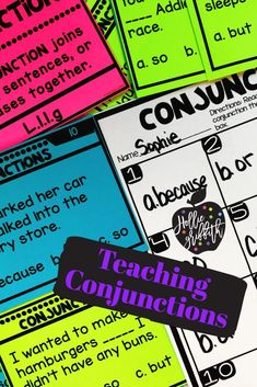 Teach students to use frequently occurring conjunctions with this engaging hands-on resource. This bundle includes five days of mini lessons, anchor charts, partner games, an interactive notebook page, task cards, a craft, and a quick assessment. This is a complete mini unit that will add fun and excitement to your classroom. #HollieGriffithTeaches #Nouns #AnchorCharts #TeacherResources
