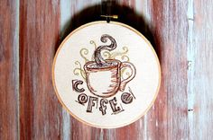 Coffee Embroidered Hoop Art-Machine Embroidered by ZellyaDesigns