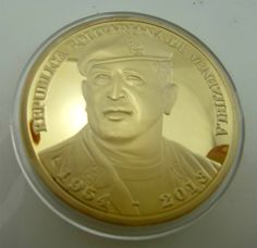 Republica Bolivariana de Venezuela Hugo Chavez Gold  Memorial Medal Coin 2013