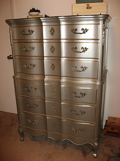 "French Provincial-- I used ""nickel"" colored spray paint from Lowe's. The best metallic paint I've found that doesn't come in a spray can is the Ralph Lauren collection at Home Depot. For the trim, I went to a Joann store and they had a pretty big selection of metallic paints there."