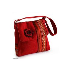 NOVICA Women's Red Floral Alpaca Wool Shoulder Bag ($59) ❤ liked on Polyvore featuring bags, handbags, shoulder bags, accessories, clothing & accessories, red, red shoulder bag, cellphone purse, red handbags and novica