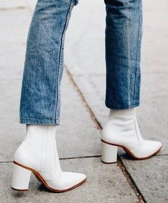 White boots should be in every trendy woman's closet. Shop the shoe brand fashion insiders rely on to stay stylish from head to toe, Schutz Shoes now in Miami at Aventura Mall. Ankle Boots With Jeans, White Ankle Boots, White Gogo Boots, Denim Boots, Espadrilles, Fashion Moda, Fashion Brand, Fashion 2018, Women's Fashion
