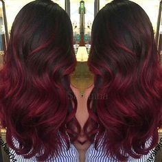 Red Balayage Hair Burgundy, Red Ombre Hair, Balayage Hair Blonde, Red Hair Color, Red Color, Red Balyage, Dark Red Hair Burgundy, Red Burgundy Hair Color, Ombre Burgundy