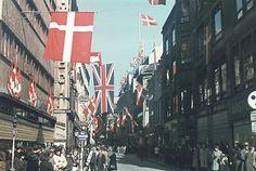 Strøget i København - festligt udsmykket   by Nationalmuseet