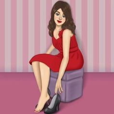 Girly Drawings, Easy Drawings, Girly M, Cute Girl Drawing, Cartoon Art, Unique Art, Pretty Woman, Cute Girls, Peplum Dress