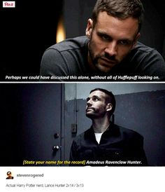 "Actual Harry Potter nerd, Lance Hunter.  #Marvel Agents of S.H.I.E.L.D. #AoS #AgentsofSHIELD 2x14 ""Love In The Time Of HYDRA"" / 3x13 ""Parting Shot"""