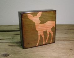 Wood Grain Fawn Deer Green Art BlockMatchBlox1483 by MatchBlox, $29.00