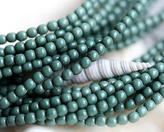 Czech pearl beads, Full Strand - Sage Green - faux pearls, tiny spacers, round, druk - 2mm - 150Pc - 1546