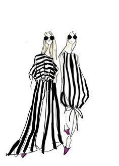 Stripes in the style of Jenny Walton Illustration Mode, Fashion Illustration Sketches, Fashion Sketchbook, Fashion Design Sketches, Fashion Art, Paper Fashion, Fashion Figures, Designs To Draw, Costume Design